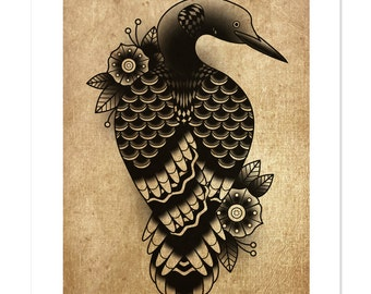 Loon, Canadian Traditional Series, Traditional Tattoo Flash, Old School, Art Print 12x16
