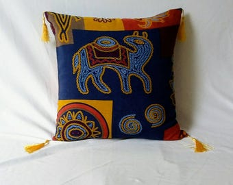 Tribal  Pillow with tassels, boho pillow, decorative pillow, throw pillow, ethnic pillow, navy blue and mustard yellow pillow cover 18 inch