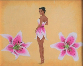 "Pink Lily Pin-up Flower Girl, Original Acrylic Nature Art Painting, One of a Kind, 10""x8"""