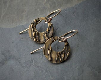 Hoop Earrings, Bronze Hoop Earrings, Prairie Switchgrass Earrings, Tallgrass Earrings, Plant Earrings, Offset Circle Hoops, Textured Hoops