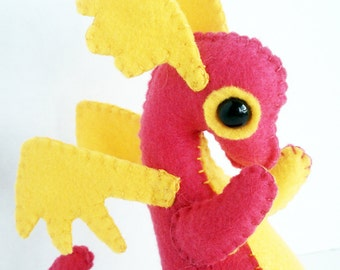 Baby Dragon felt plush stuffed animal- Hot pink with yellow