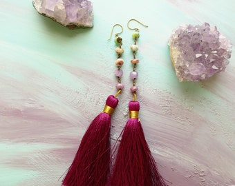 Andorra amethyst, ruby, moss opal, spiny oyster and silk tassel shoulder duster earrings