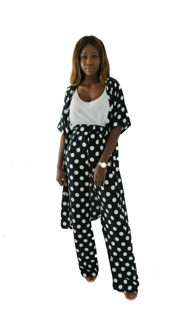 Jess Polka Dot Black & White Women's Kimono Trouser Pant Suit