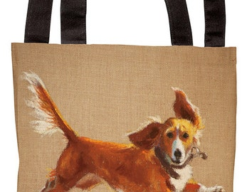 Tote Bag_Mighty Mutt_humor_dog_daschund_brown_tote