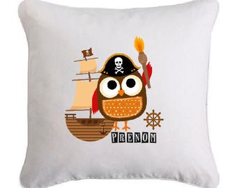 The pirate OWL personalized with the name cushion