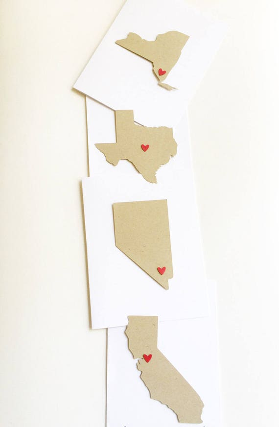 Valentines Card For Him. State Love Stationery. Home Is Where The Heart Is. Anniversary Card. Wedding Gift For Couple. Moving Announcement