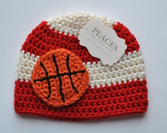 Newborn Basketball Hat - Red and White Basketball Baby Hat