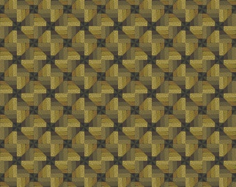 Ginger Rose Fabric - Olive Graphic Illusion Print