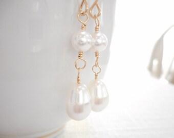 White Pearl Earrings, Teardrop Earrings, 14k Gold Filled Wire Wrapped Jewelry, Swarovski Crystal Pearl Dangle Earrings, Wedding Jewelry