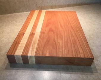 Cherry and Maple board, Chopping block, Cheese board, Bread board, Hardwood cutting board, Durable cutting board, Handmade