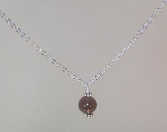 Gemstone Birthstone Necklace - Sterling Silver Filled Necklace - 8mm Smoky Quartz Shown