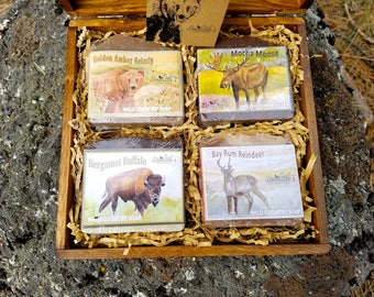 Soap - Men's Gift Soap - Wild Country Gift Soap, Gift Soap, Cold Process Soap, Bear, Moose, Reindeer, Amber Soap, Mocha Soap, Bay Rum Soap