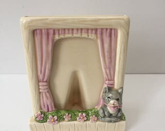 Vintage Ceramic Photo Frame with Gray Cat