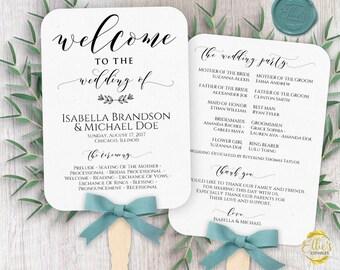 Wedding Fans, PC or Mac Printable Wedding Fan Program Template, Fan Wedding Program, Editable text, Modern Calligraphy, Welcome, WTTWWF01