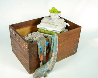 Rustic Wood Crate with Handle