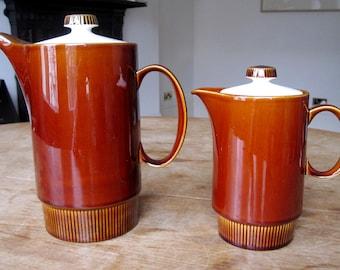 Two Vintage Poole Pottery 1960's 'Choisya' tea/coffee/milk Pots with lids