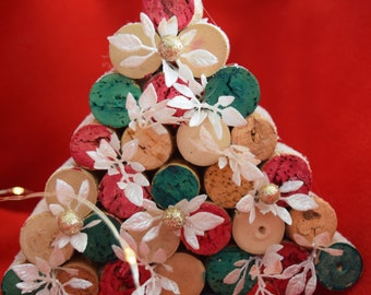 Large Cork Christmas Tree with White