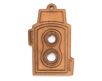 TLR Camera Ornament - Camera Collection - Laser Engraved Wood Ornament - Christmas Ornament
