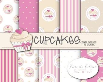 10 digital maps Digital Paper jpeg-CUPCAKES-cupcake 1 png