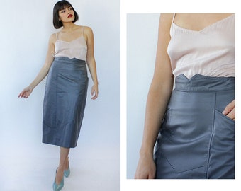 Vintage Leather Midi Skirt M • Grey Leather Skirt • Leather Midi Length Skirt • Vintage Leather Skirt • High Waisted Leather Skirt • SK1154