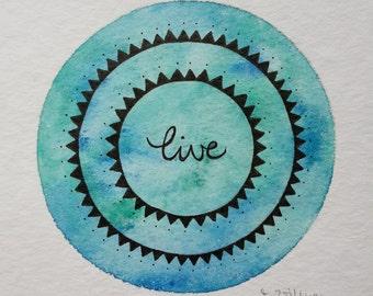 "original mini painting ""live II"""