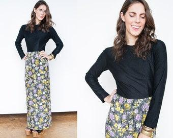 Vintage 1970's | Black | Floral | Boho | Maxi | Dress | S