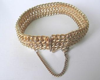 Gold plated mesh chain  bracelet