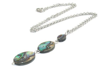 Paua Shell Drop Pendant, Handmade New Zealand Abalone Necklace