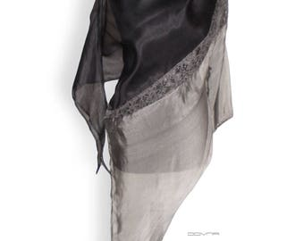 Black gray silk organza blouse tunic top, lace part across,Asymmetrical cut ,Transparent and thin party blouse