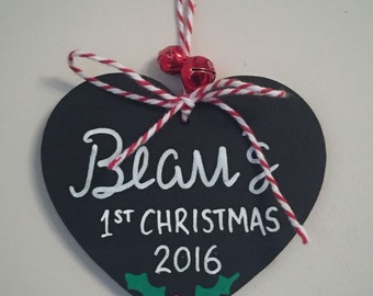 Personalised Baby's First Christmas Tree Decoration Handmade Chalkboard