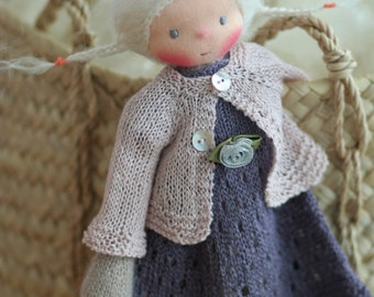 """Peperuda doll, Knitted doll Lorerey 14"""", Waldorf doll, rag doll, handmade doll, soft doll, Steiner doll, OOAK doll"""