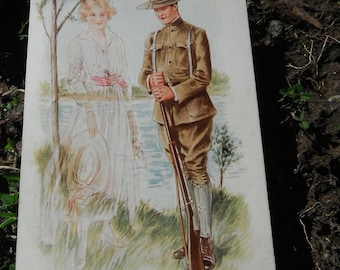 Romantic WWI Era Military Postcard - If Wishes Came True