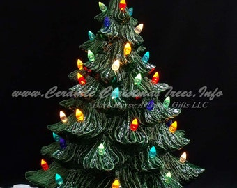 Vintage Style Ceramic Christmas Tree w/ Music Box 19 In