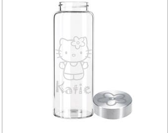 Etched 33oz Large Glass Bottle - Hello Kitty with Custom Name