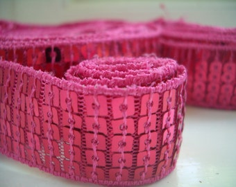 "SALE Sequin Trim 1"" Square Hot Pink, fabulous costume trim."