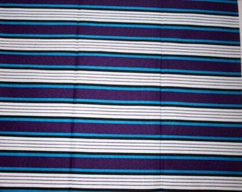 Blue and white Stripes Ankara fabric, African Wax Cotton, African Wax Print, African Ankara, ankara sold by the yard