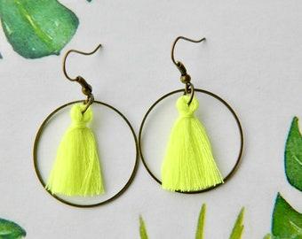Nice pair of bronze ring 30mm neon yellow tassel earrings