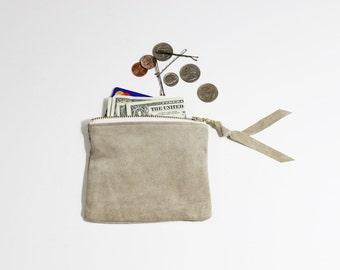 """Repurposed Suede Mini 5"""" pochette / sac à main portefeuille de pièce"""