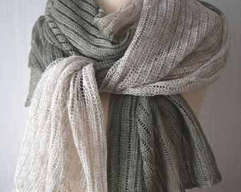 Linen Scarf Natural Grey Khaki Knit Shawl  Natural Summer Wrap for  Women