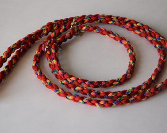 "Leaves Lariat braiding ""Star"" in shades of red dog collar"