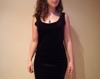 Vintage black velvet floor-length dress