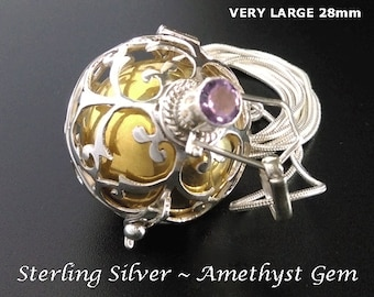 Large 28mm Harmony Ball with Amethyst Gemstone on Sterling Silver Cage, Excellent Chime | Bola Necklace, Pregnancy Gift, Angel Caller 894