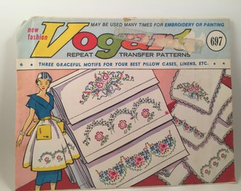 Vintage Vogart 697, Embroidery Transfers, Flower Transfers, Aprons, Pillow Cases, Transfer Patterns, Iron On Transfers, Floral Motifs,