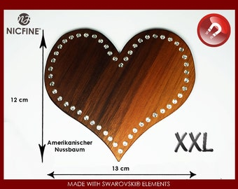 Magnet XXL Heart made of fine wood with Swarovski elements