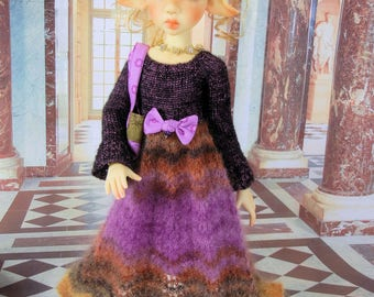 long sleeved hand knit dress outfit for MSD Kaye Wiggs girls such as Nyssa, Layla, Miki, Laryssa or Abby, Missy