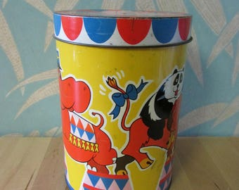 Colourful vintage tin with cute circus animal theme