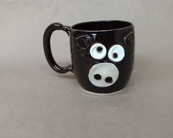 Piggie Face Mug. Microwave Dishwasher Safe Handmade Stoneware Pottery Pig Coffee Cup in Dark Chocolate Black. Mother's Day Gift for Mom.