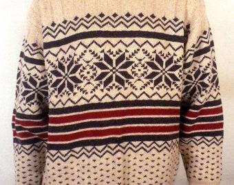vtg 80s Johnny Morris Outdoors classic Wool Blend Men's Ski Sweater snowflake XL