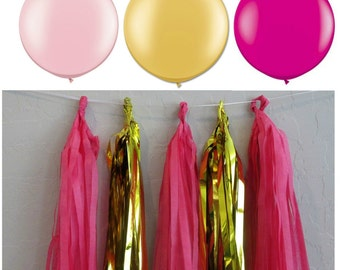 Garland Pink and Gold Tissue Garland Tassel Garland Balloon Tail Balloon Garland Pink and Gold Wedding Girl Party Shower