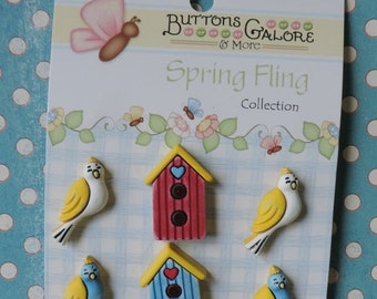 SALE Bird and Birdhouse Buttons Spring Fling Collection by Buttons Galore Carded Shank Back